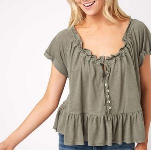 Free People Green Charlie T-Shirt